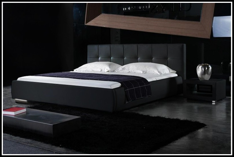 Bett 140x200 Holz Schwarz