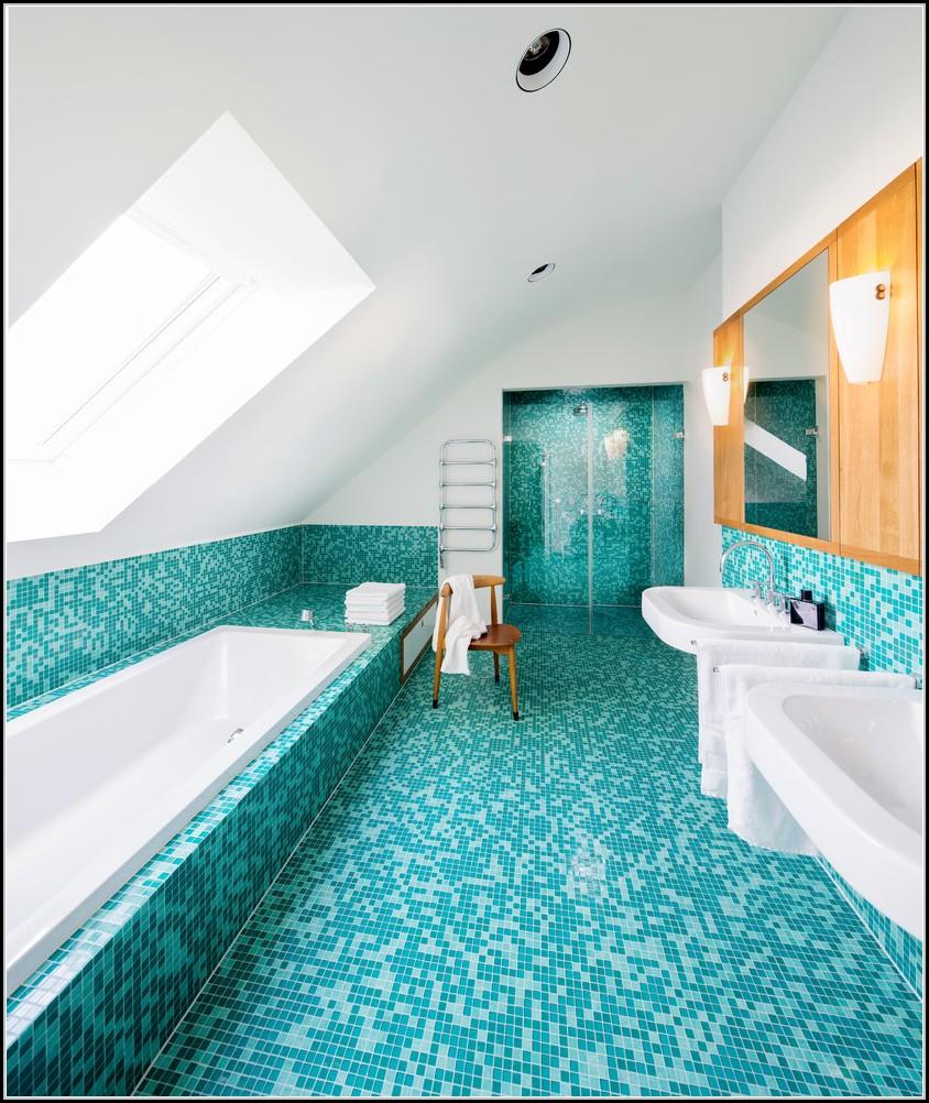 Badezimmer Fliesen Blau Mosaik