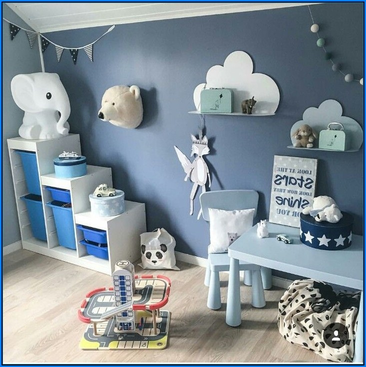 Babyzimmer Blaue Wand