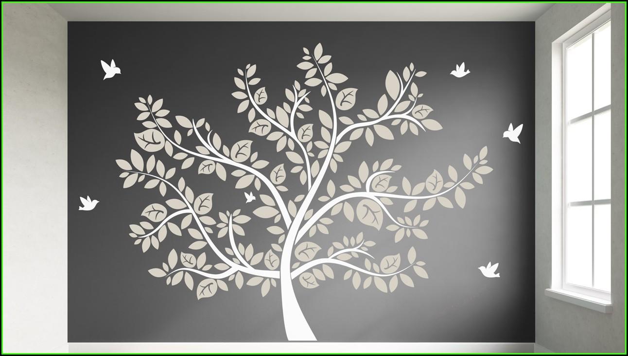 Ideen Schlafzimmer Gestaltung Grau Weiss Wandgestaltung Fotomotive Bäume