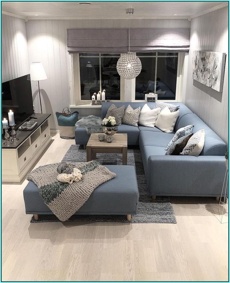 Wohnzimmer Ideen Blaues Sofa