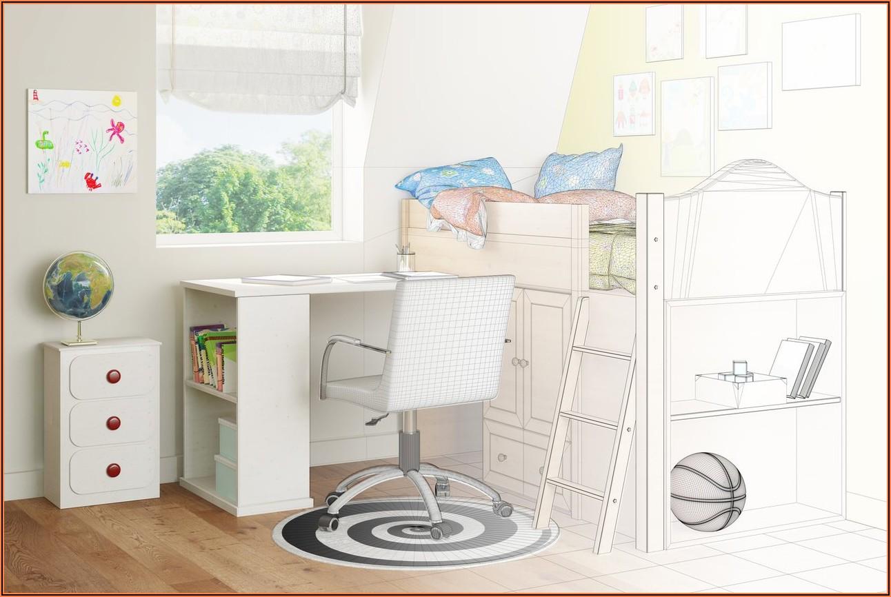 Kinderzimmer Bett Schrank Schreibtisch