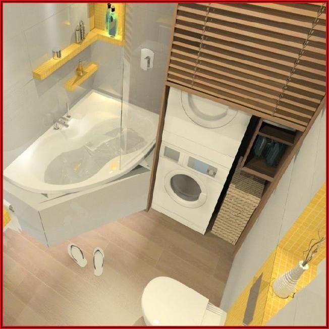 Kleines Bad Mit Dusche Waschmaschine Und Trockner