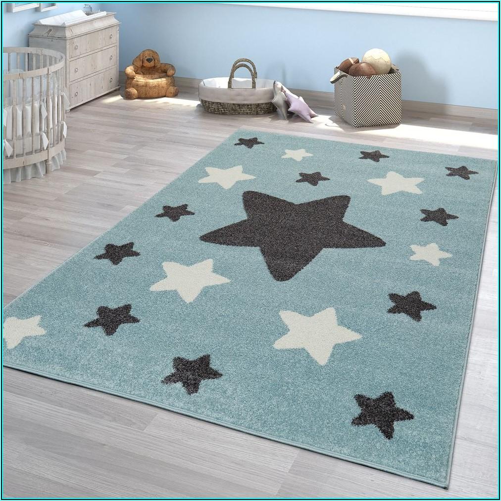 Teppich Kinderzimmer Blau Grau