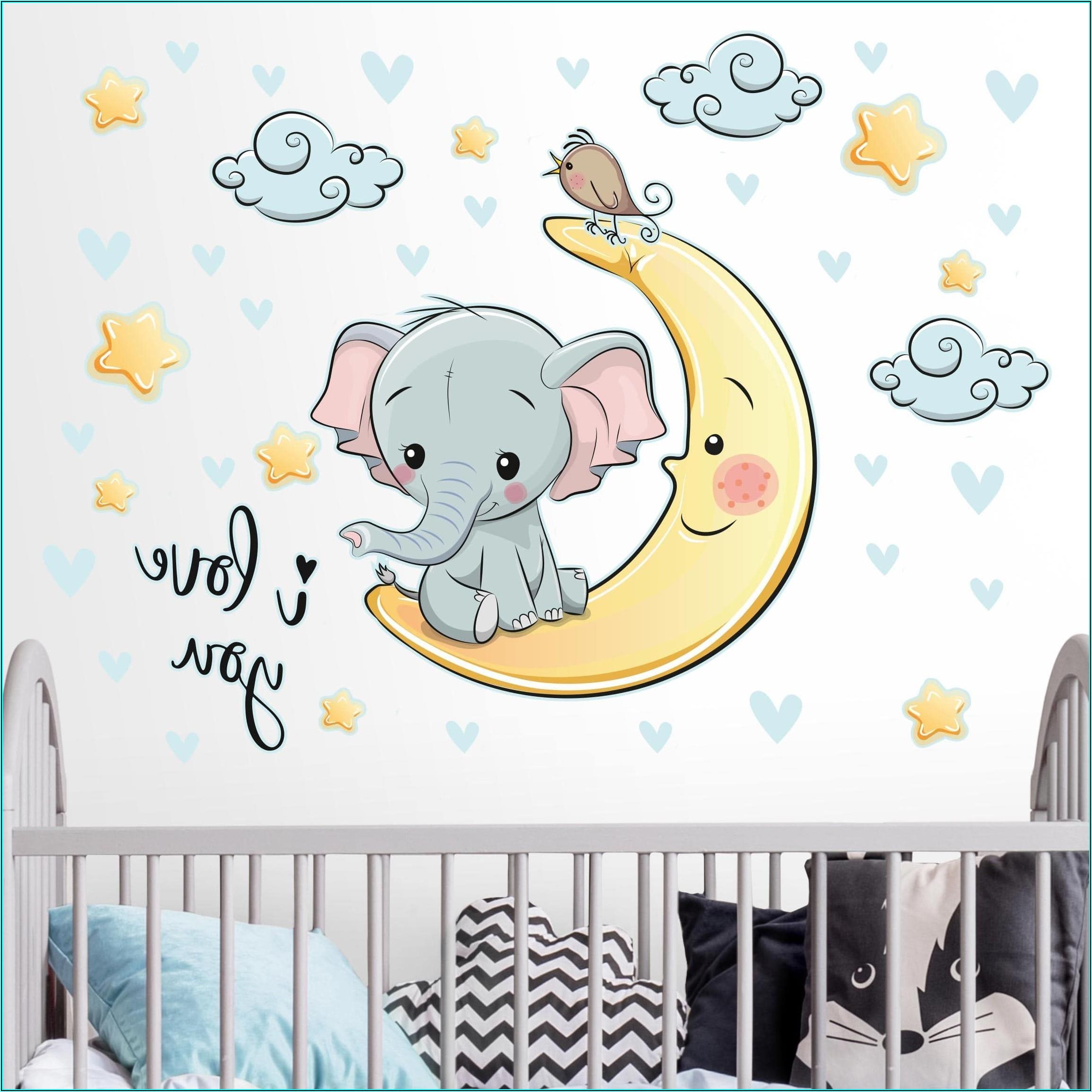 Wandtattoo Babyzimmer Mond