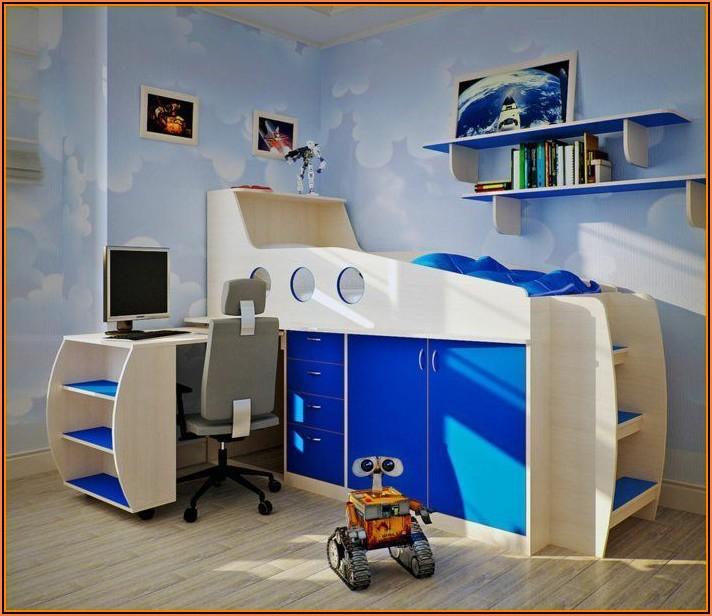 Kinderzimmer Bett Schreibtisch
