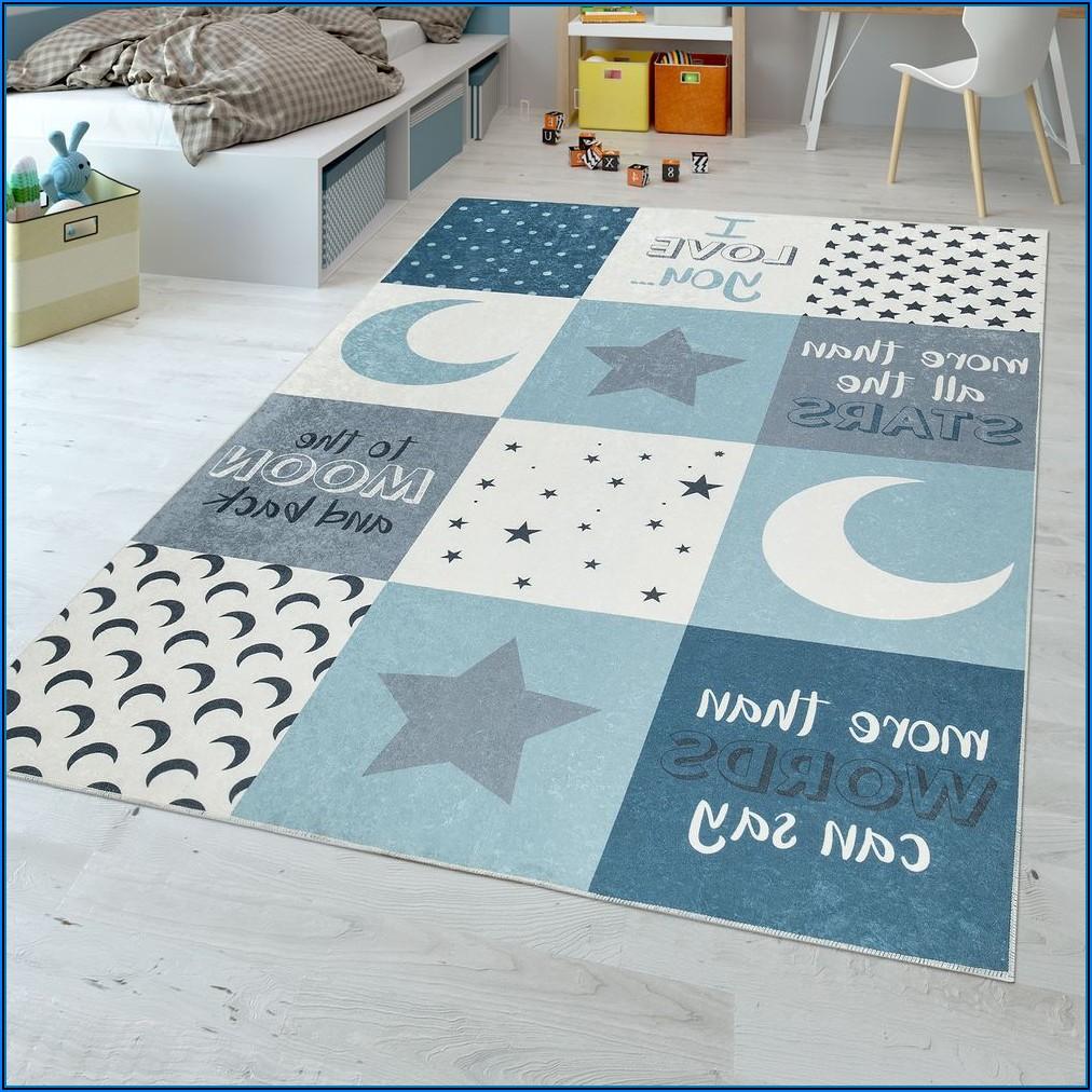 Kinderzimmer Teppich Mond