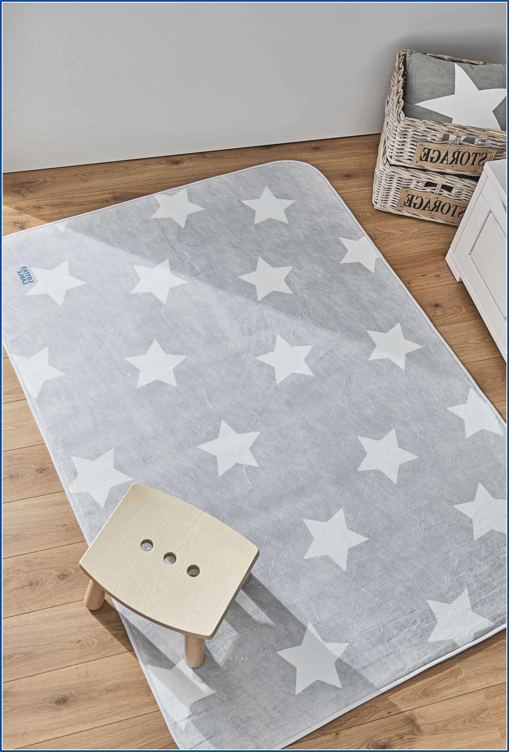 Kinderzimmer Teppich Sterne Grau