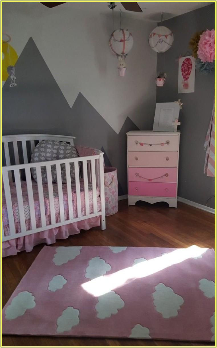Babyzimmer Teppich Grau Rosa