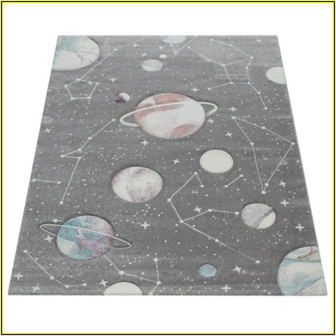 Kinder Teppich Kinderzimmer Planeten Sterne Grau