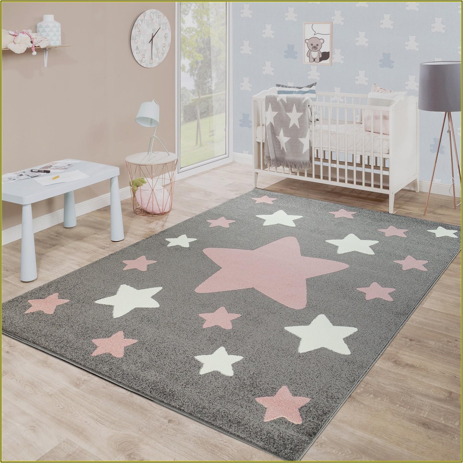 Kinderzimmer Teppich Grau Sterne