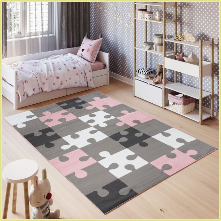 Kinderzimmer Teppich Rosa Grau