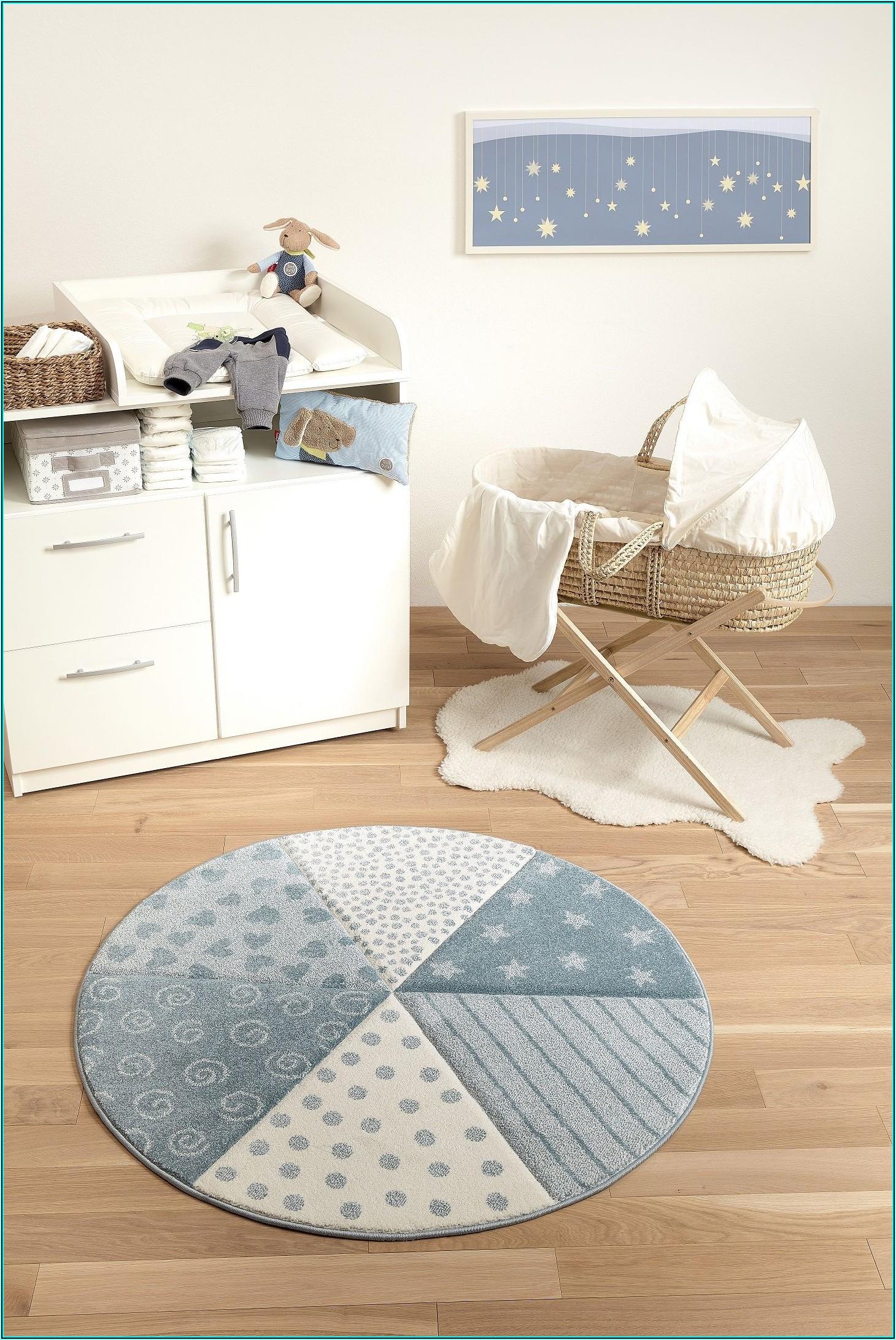 Teppich Blau Rund Kinderzimmer