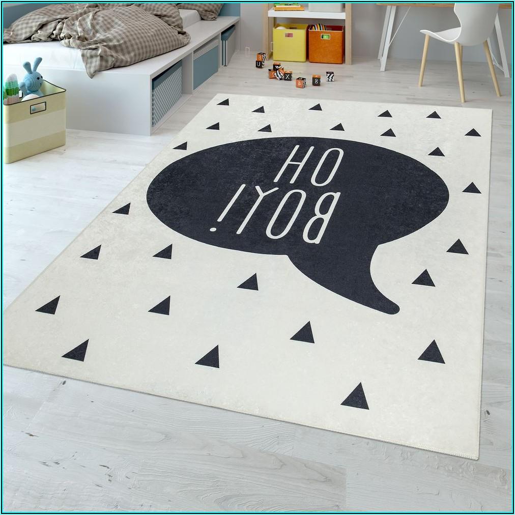 Teppich Kinderzimmer Schwarz Weiß