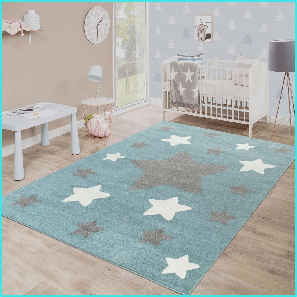 Teppich Kinderzimmer Sterne Blau