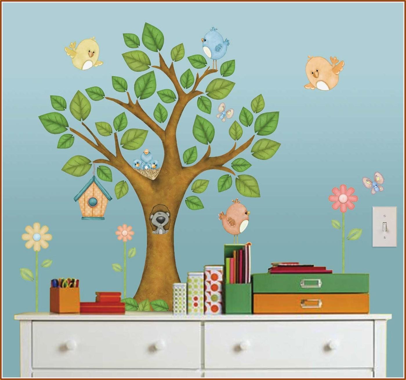 Wandtattoo Kinderzimmer Baum Tiere