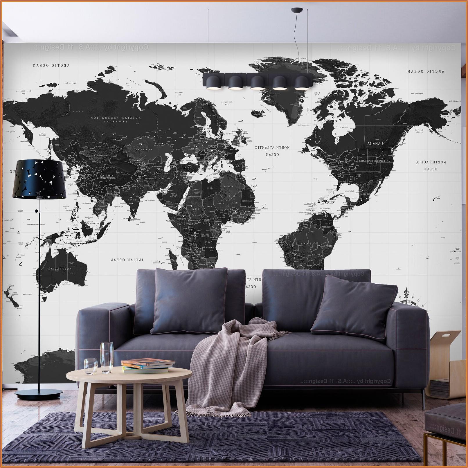 Bilder Wohnzimmer Weltkarte