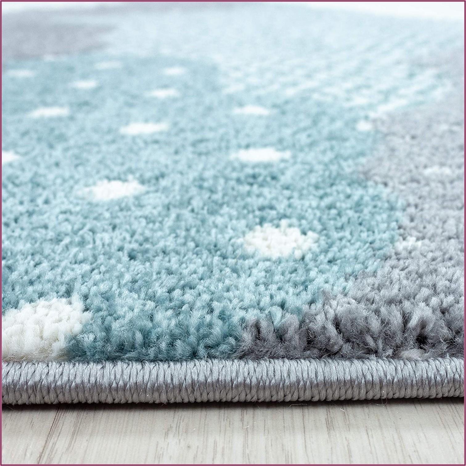 Kinderzimmer Teppich Blau Grau