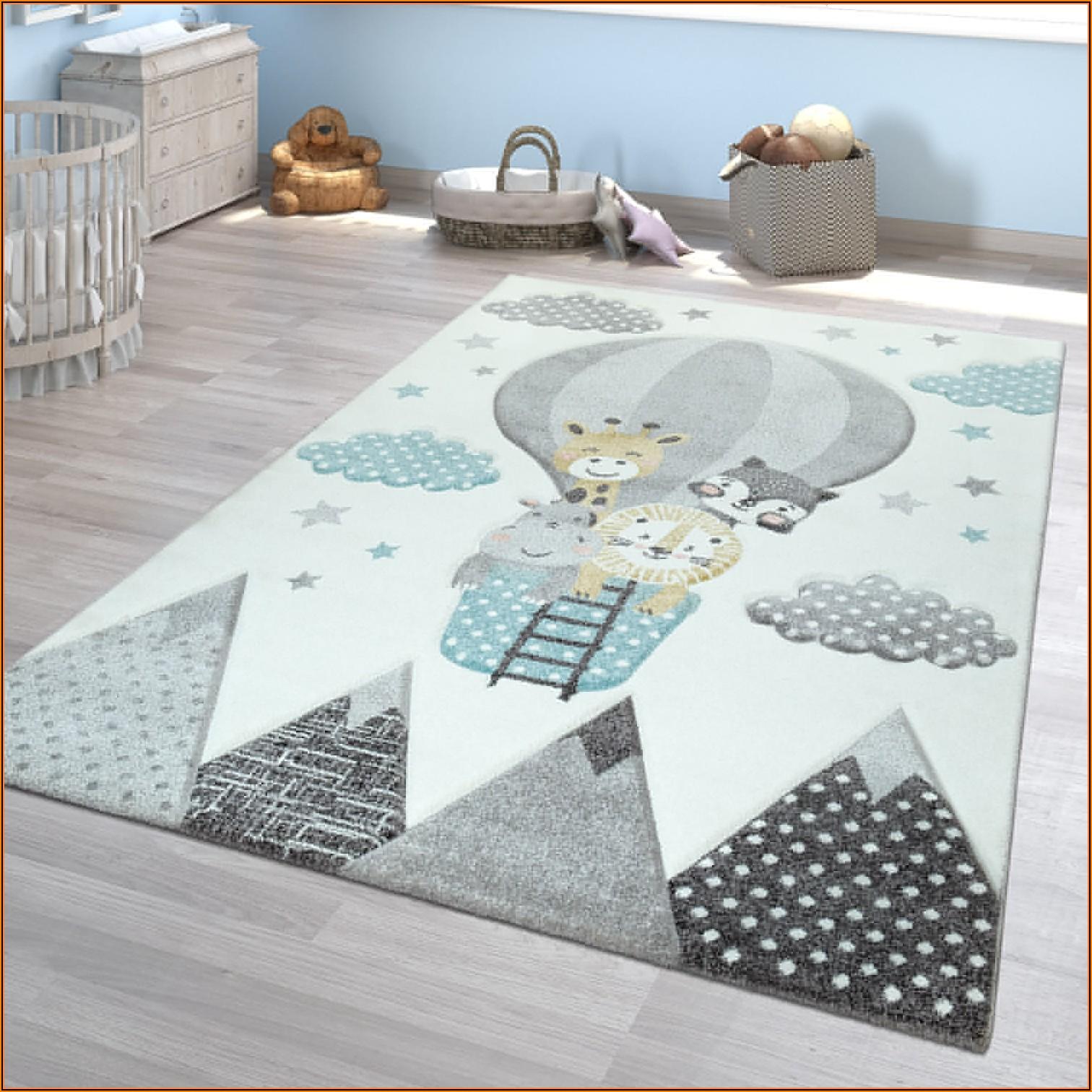Kinderzimmer Teppich Grau Blau