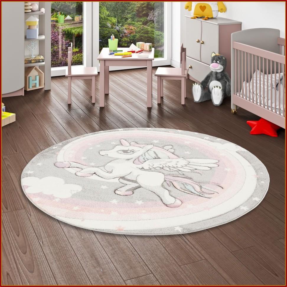 Kinder Teppich Rund Grau