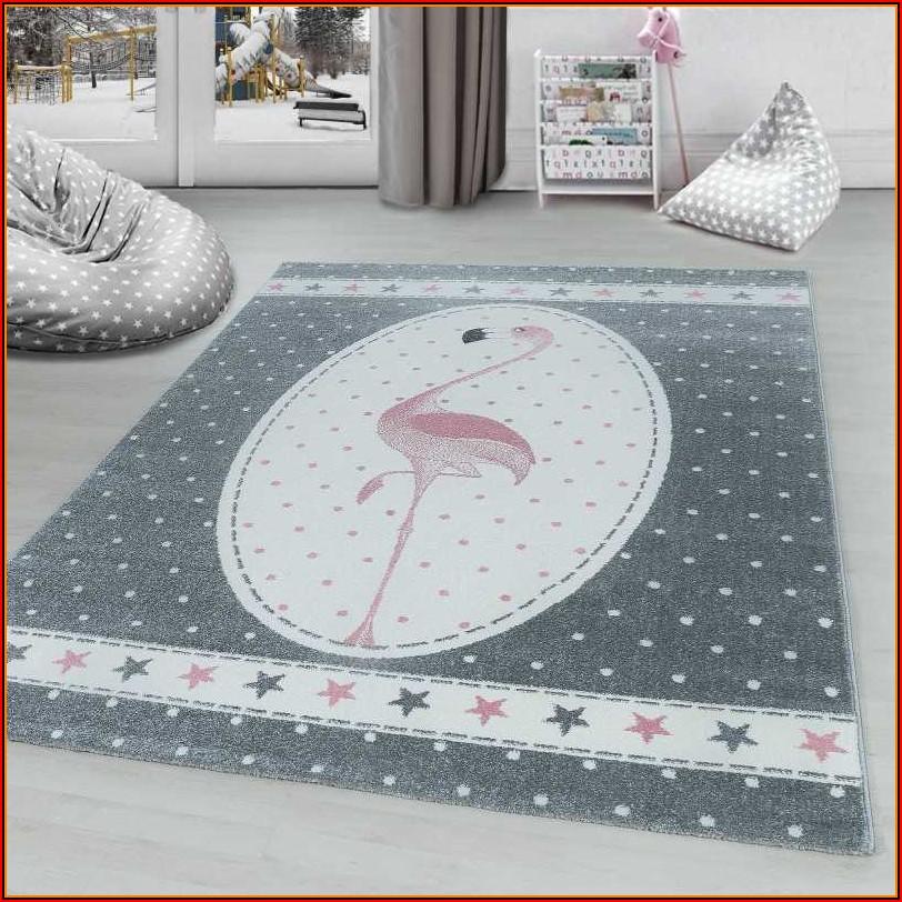 Kinderteppich Kinderzimmer Teppich Einhorn Muster Grau Weiß Pink