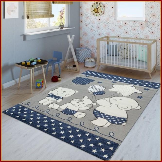 Kinderzimmer Teppich Blau Sterne