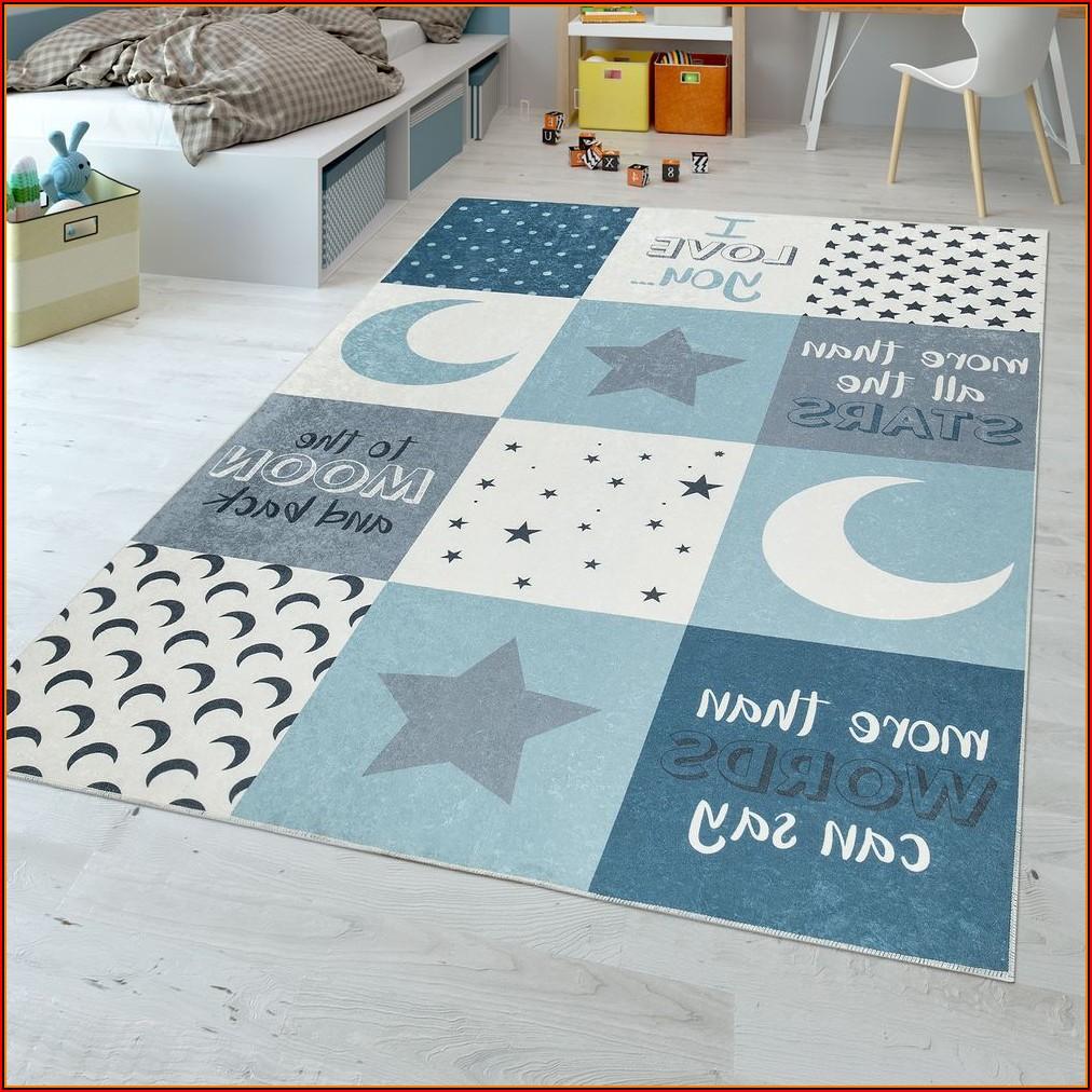 Kinderzimmer Teppich Junge Sterne