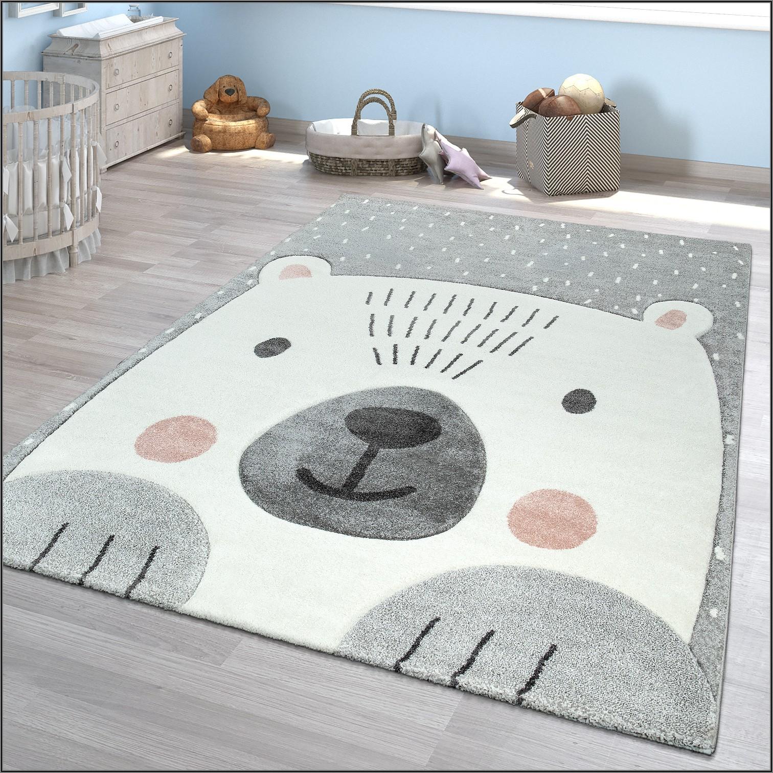 Teppich Kurzflor Grau Kinderzimmer