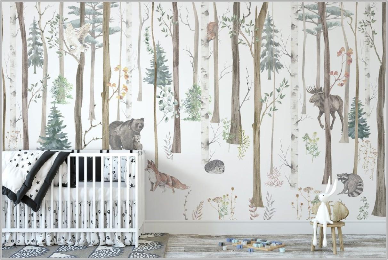 Tapete Kinderzimmer Waldtiere