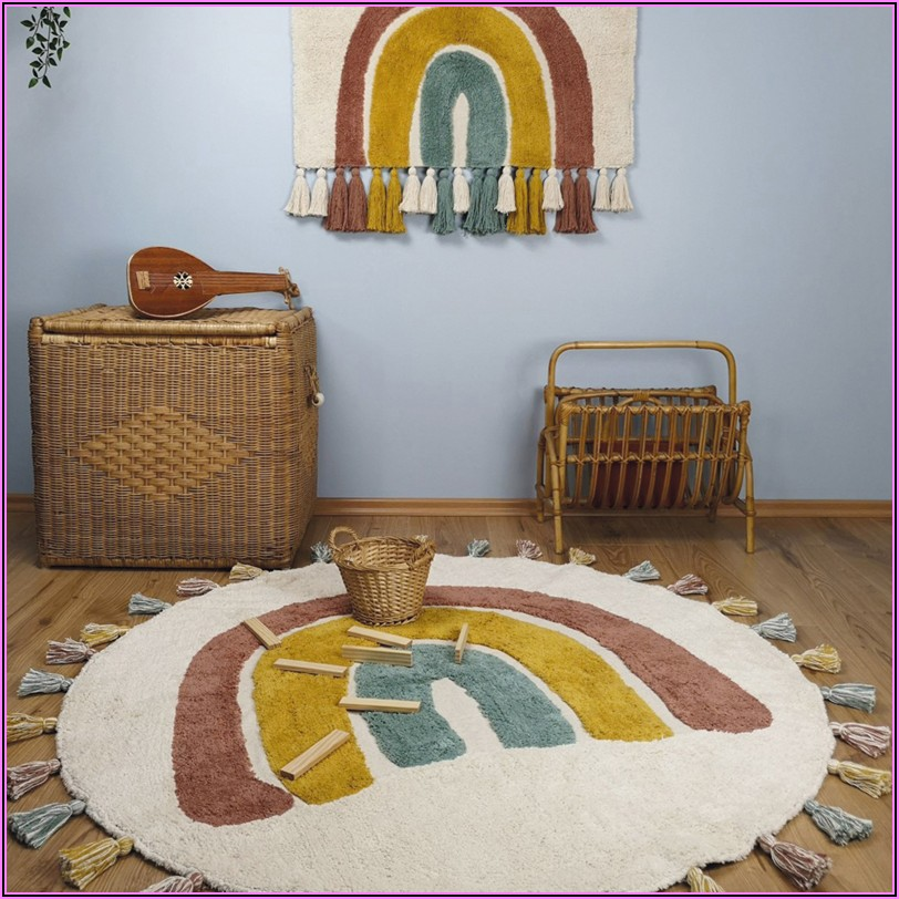 Kinder Teppich Wolle Rund
