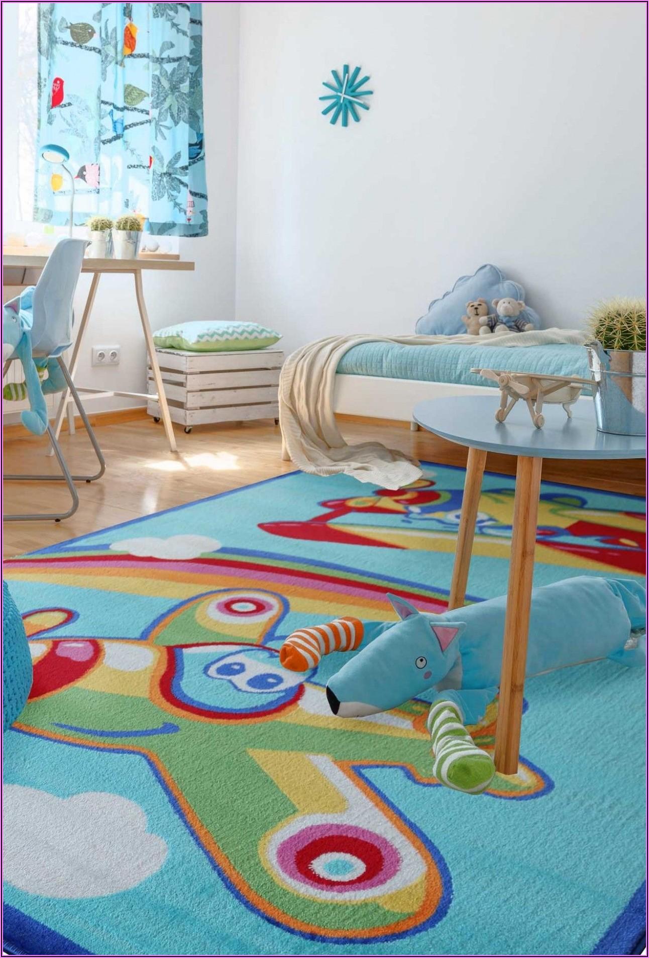 Kinderzimmer Teppich Mädchen Rosa Grau