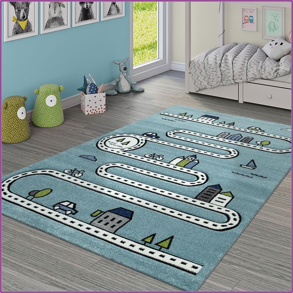 Teppich Kinderzimmer Blau Weiß
