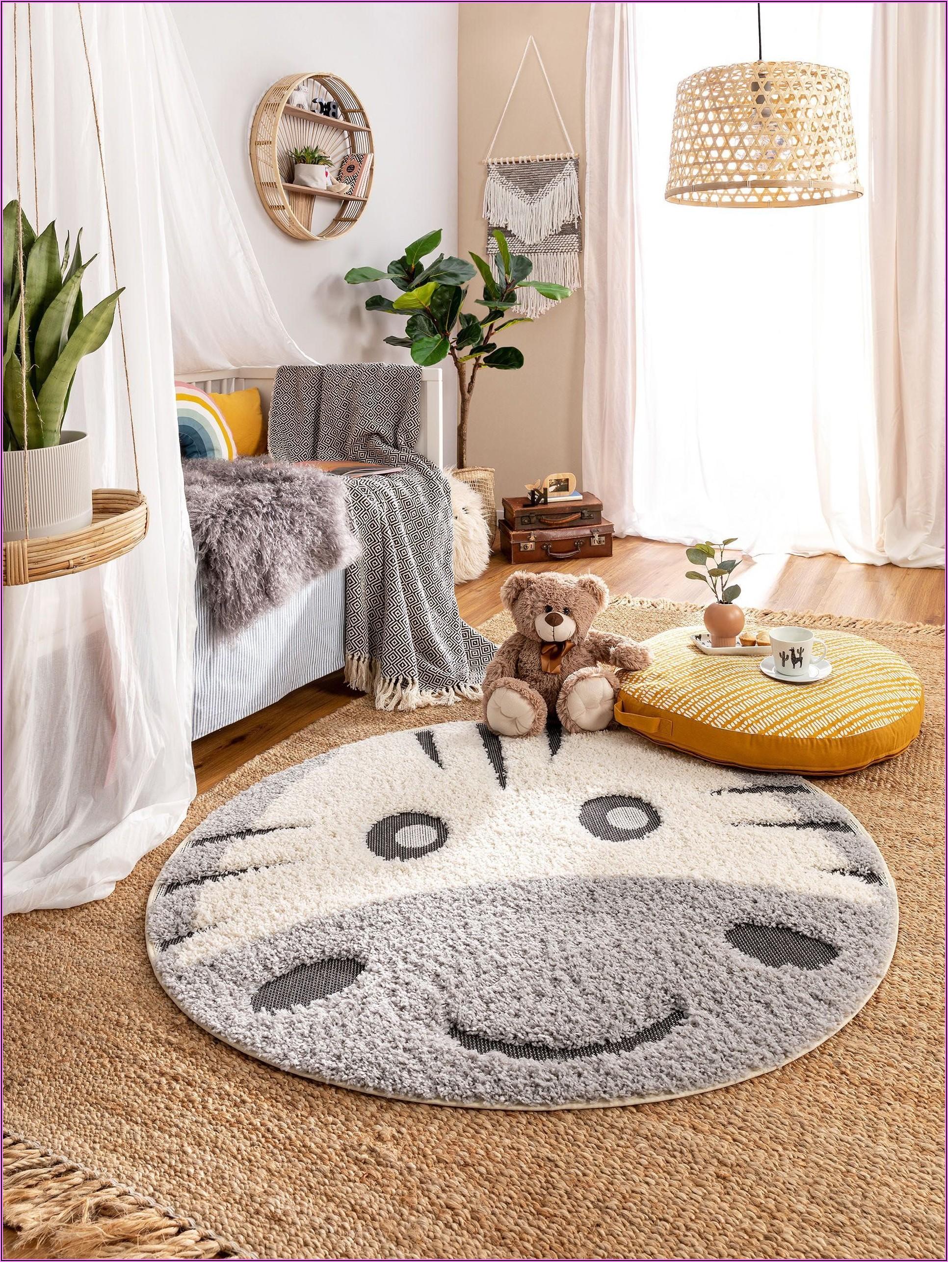 Teppich Kinderzimmer Grau Rund
